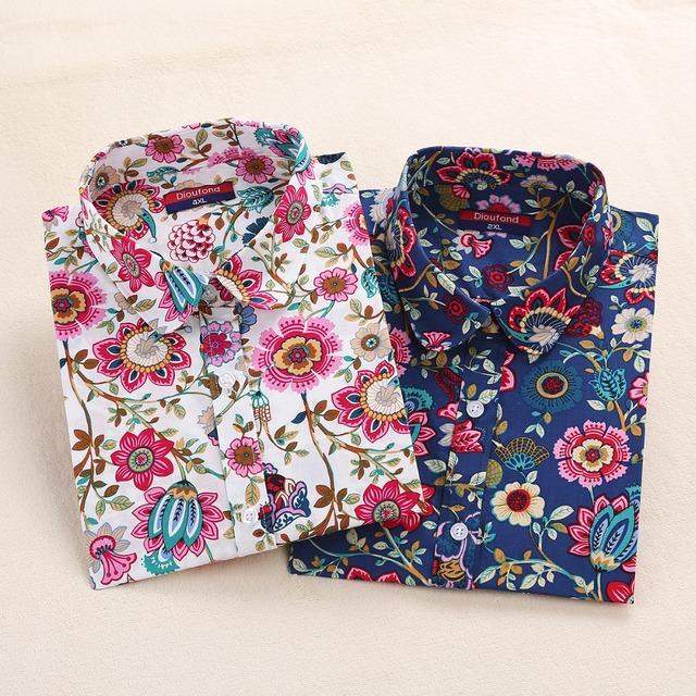 Harajuku Floral Print Cotton Long Sleeve Ladies Blouses -Plus Sizes up to 5XL