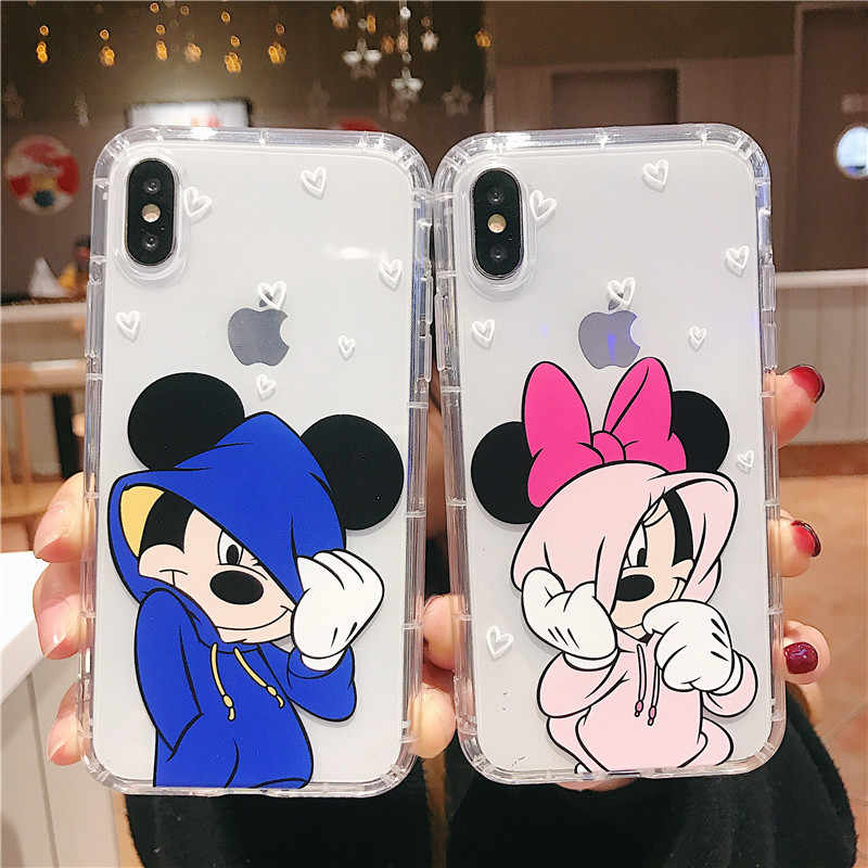 Cute Cartoon Mouse Case For iPhone 11 Pro Max Soft Silicone Covers For iPhone X XR XS 8 7 6 6s Plus Phone Case Transparent Back