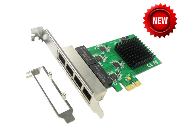 PCI-Express 4 Ports Gigabit Ethernet Controller Card, RTL8111 Chipset, support low profile bracket PCIE to 10/100/1000Mbps цена и фото