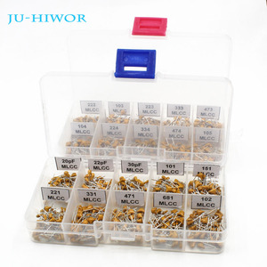 1000pcs 20 Values Ceramic Capacitor 20pf~1uF Assorted kit Leaded Multilayer Monolithic With 2 Platic Boxes 50PCS For Each Value
