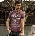 Урожай 100% хлопок топы v-образным вырезом с коротким рукавом футболки мужчин ретро отделки печать трикотажные базовый футболка широкий