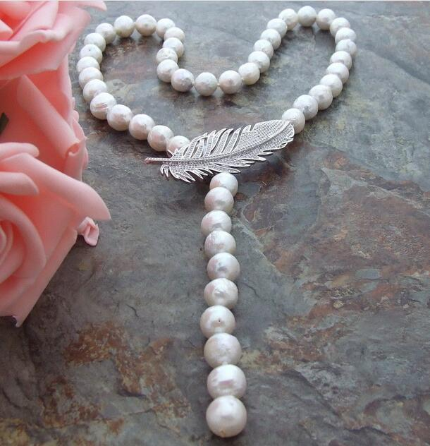 35 10-11 mm White Keshi Pearl Necklace CZ Pendant35 10-11 mm White Keshi Pearl Necklace CZ Pendant
