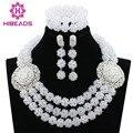 Bolas De Cristal Mulheres Do Partido Conjunto de Jóias Banhado A Prata Branco puro ABK989 Nigerianos Casamento Beads Africanos Jóias Define Frete Grátis