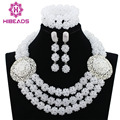 Pure White Crystal Balls Women Party Jewelry Set Silver Plated Nigerian Wedding African Beads Jewelry Sets Free Shipping ABK989