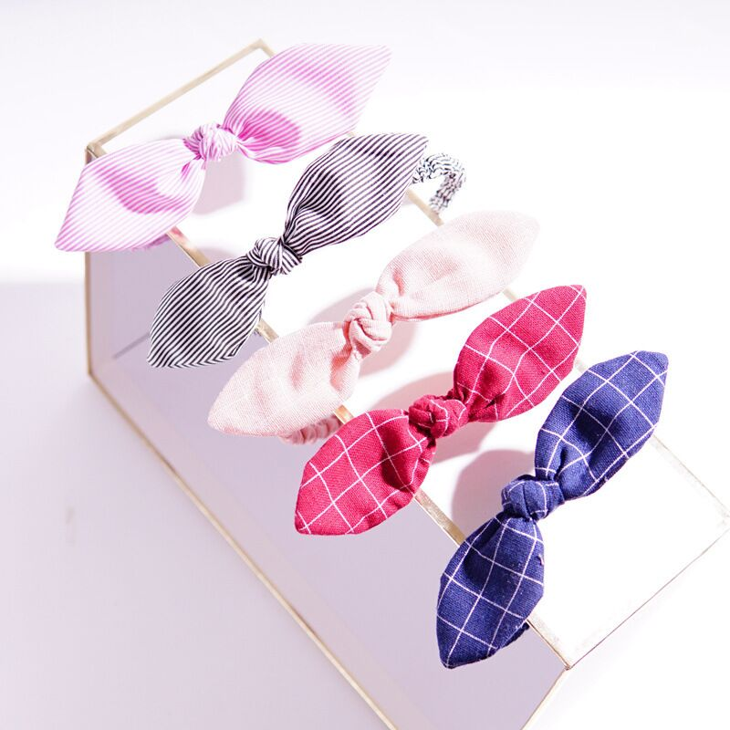 Korea simple fabric plaid hair accessories headband sweet style ear bow lady headwear