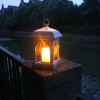 Solar Candle Lamp Lantern Light Courtyard Candlesticks Solar Powered Hanging Waterproof Decorative Light for Home Outdoor