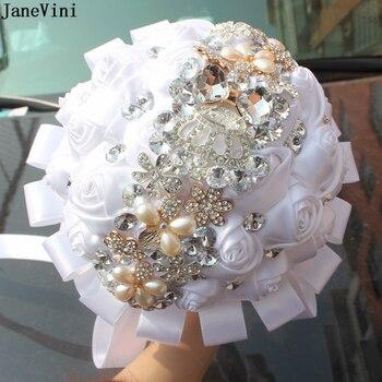 Bouquet De Mariée | JaneVini Luxe Cristal Mariée Bouquets Broche Demoiselle D'honneur Artificielle Blanc Satin Roses Mariage Fleurs Ruban Bruidsboeket Rozen