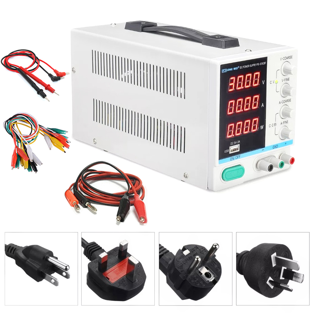New 30V 10A LED Display Adjustable Switching Regulator DC Power Supply PS-3010DF Laptop Repair Rework  USB Charging 110v - 220v