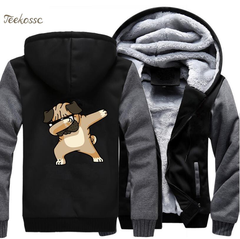 Dabbing Pug Hoodie Men Hip Hop Dance Hooded Sweatshirt Black Grey Coat 2018 Winter Fashion Warm Fleece Thick Cool Funny Jacket