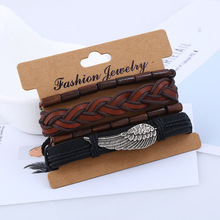 Vintage Multilayer Leather bracelets for men eye charm Weaving Wooden wing Feather Bracelet jewelry
