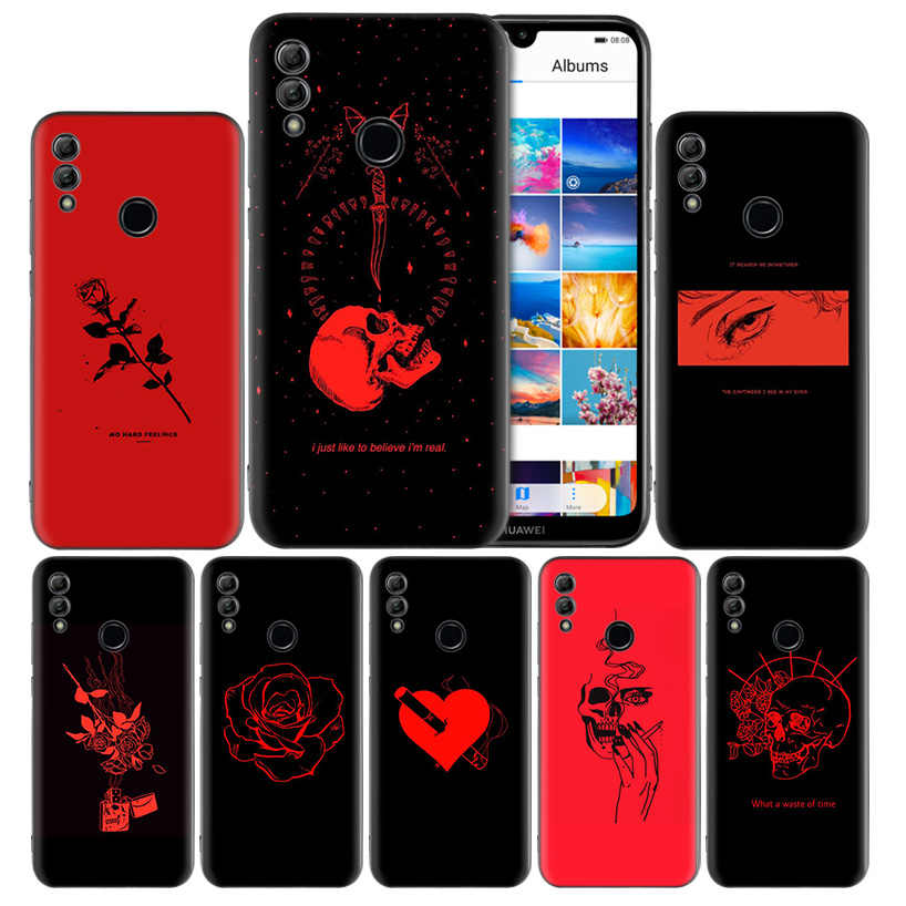 Red Doodles Aesthetics Quotes Silicone Case Cover for Huawei Honor 8X 8C 8A 8S 10 10i Lite Play V20 Y9 Y7 Y6 Y5 Prime 2018 2019
