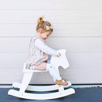 Nordic Style Wooden Trojan Horse Rocking Horses Model House Furniture Chair Play Game Toys For Girls