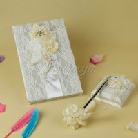 Wedding Decoration Signature Guest Book With Pen Set Satin Bows Lace Pearls Flowers For Marriage Event
