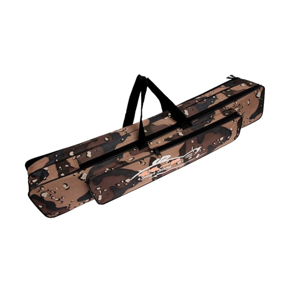 80cm Big Plus Size Double Layer Camouflage Fishing Rod Bag Foldable Waterproof Oxford Cloth Fishing Tackle Bag Backpack