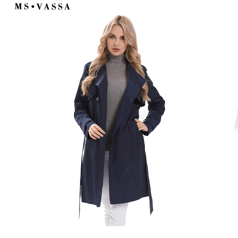 MS VASSA Big size   Trench   Coats Women 2018 New Autumn Ladies coat double breasted button closure turn-down collar plus size 5XL