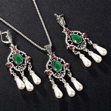 Turkish Jewelry Mosaic Green Red Top Resin Crystal Tibetan Silver Wedding Necklace and Earing Pearl Set Girls Necklaces Pendants cheap Fashion Jewelry Sets Bohemia PLANT necklace earring joyme Women Zinc Alloy Bridal Jewelry Sets Party AAA+ vintage Jewelry Set