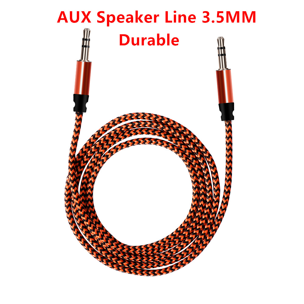 Nylon Woven Speaker Line Jack Audio Cable RCA AUX Male to Male 3.5mm Plug Audio Cable for Headphones Auto Music Car Accessories