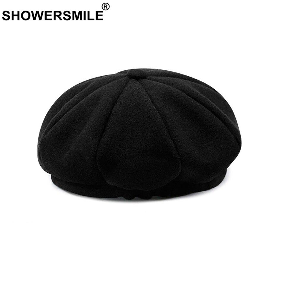 SHOWERSMILE Ladies Beret Hats Solid Color Wool Hat Spring Female Octagonal Cap Women Black Vintage Painter Caps