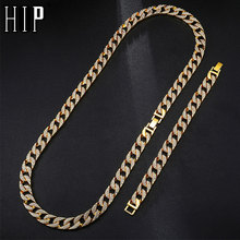 Hip Hop 1Set 13MM Gold Silver Full Iced Out Paved Rhinestones Miami Cuban Chain CZ Bling Rapper Necklaces For Men Jewelry