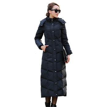 Europe X-Long Down Jacket Women Winter Long Plus Size Slim Knee  Down Outwear Female Thick Hooded Parka Coat C348