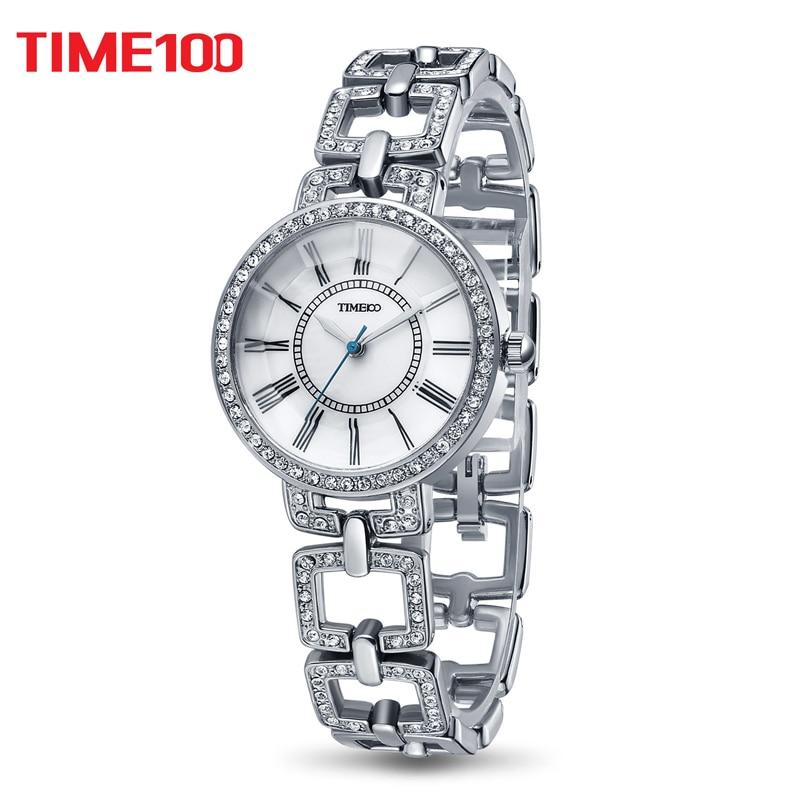 2017 TIME100 Women Quarz Watches skeleton Rhinestone Strap Silver Roman Numeral classic Wrist Watch For Women relogio feminino silicone strap roman numeral quartz watch