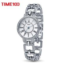 Time100 Lady Luxury Brand Fashion Retro Korean Style Roman numerals Alloy Strap Rhinestone Dress Women Quartz Watch#W50220L.01A