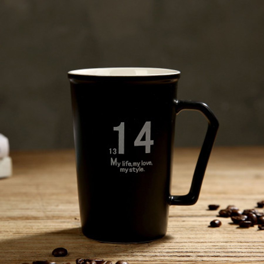 High Quality Geramic Drinkware Coffee Mugs Fashion Greative Brief Digital Mugs Cups Handgrip Personality for Lovers