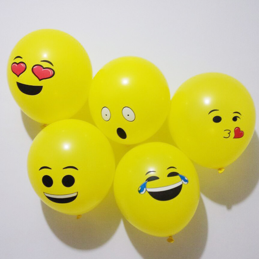 100pcs 12Cute Latex Emoji Balloons, Smiley Face Expression Yellow Air Balloons, Party Wedding Supplies, Party Decoration