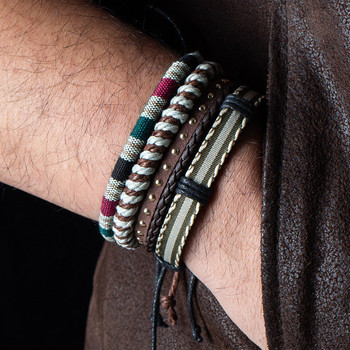 Metal Leather Bracelets Men Jewelry Vintage Classic Retro Plant Charm Bracelet Bangles 3