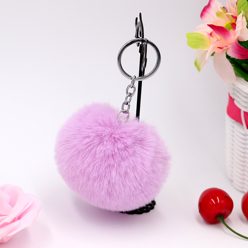 8CM Fluffy Rabbit Fur Ball Key Chain Cute Candy Colors Pompom Artificial Rabbit Fur Keychain Women Car Bag Key Ring