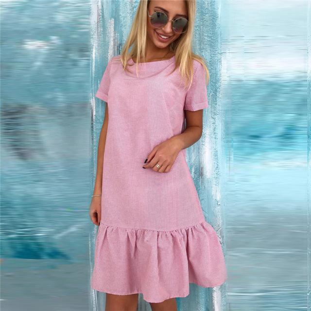 Bohemian Beach Dress Woman Mini Dresses Ruffles Hem Striped A line Sundress Short Sleeve Loose Casual Vestidos De Festa LJ9649U