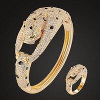 Zlxgirl perfect shape leopard copper animal bangle with ring jewelry sets women size Enamel animal bracelet bangle sets