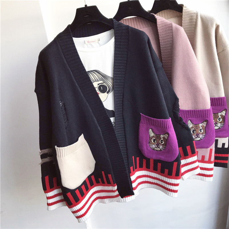 2018 Luxury Designer Brand Spring Knitted Cardigans Women Casual Contrast Color Pocket Embroidery Cat Stripe Loose Sweater ...