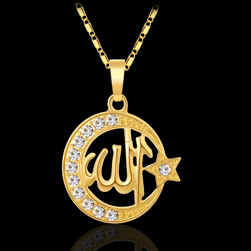 Fashion moon/star woman Islam Religion Middle Eastern Muslim pendant necklace for Gold/Silver color Arab jewelry accessories