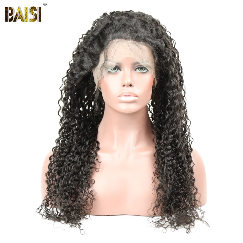 BAISI Hair Brazilian Curly 360 Lace Frontal Wigs with Natural Hairline 150 Density 100 Human Hair