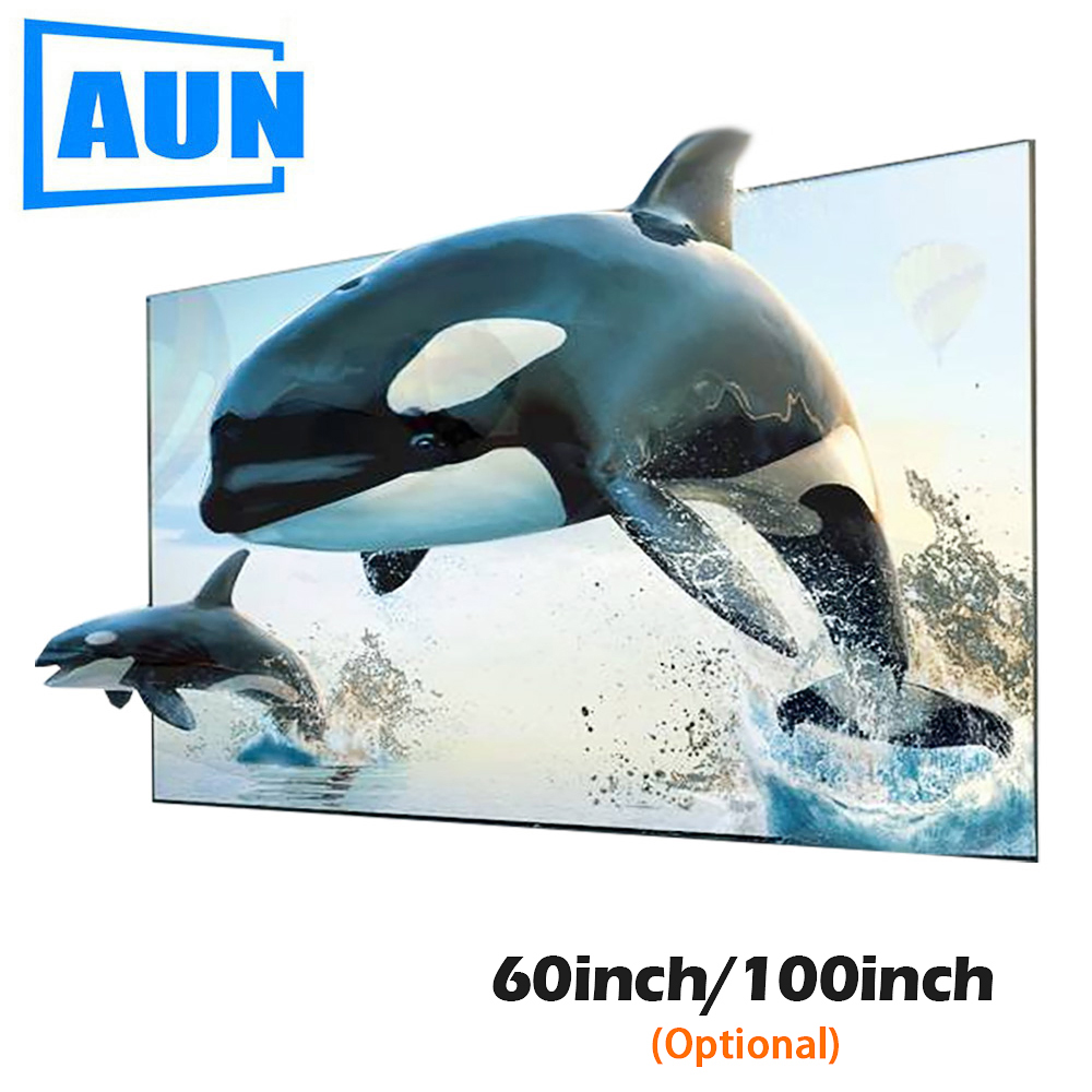 AUN 16:9 Anti-light Reflective Fabric 60/100 inch Screen for Home theater, ALR Screen for Projector DLP proyector Щипцы