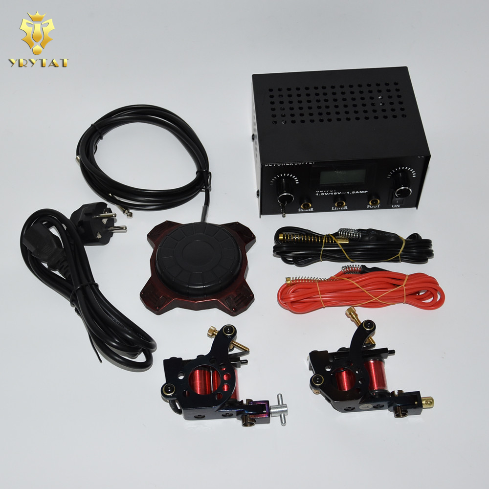 Professional Tattoo Kit Liner Shader Machine LED Display Power Supply 2pcs Silicone Clip Cords TKS201-A#