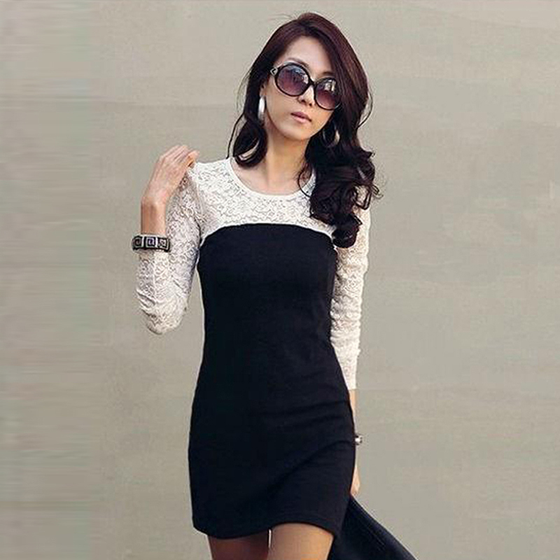 Women Ladies Sexy Cotton Casual Lace Dress S M L XL For Spring and Autumn Promotio  Party Mini Dress  Freeshipping