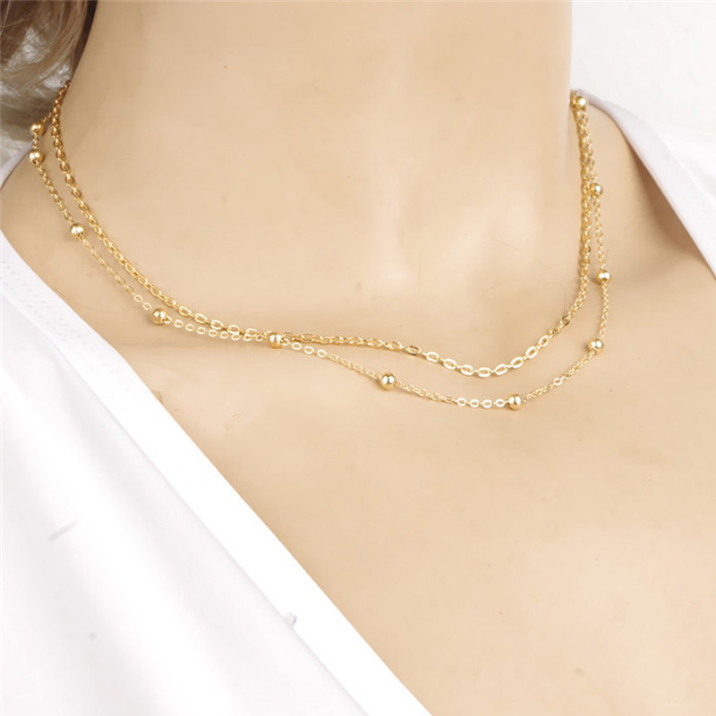 bceb734e09ad5 2015 New Fashion Gold Small Copper Ball Beads Double Chain Choker ...