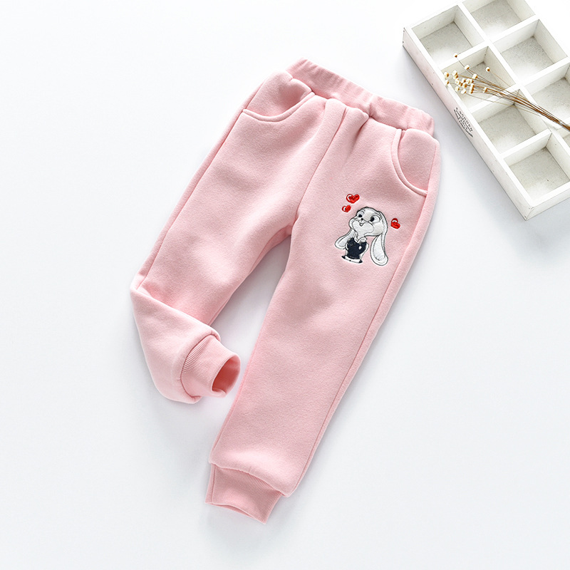 Kids Winter Pants Baby Girls Cartoon Warm Trousers New Cute Rabbit Appliqued Cotton Pants for Baby Girls Baby Long Sweatpants Pants     - title=