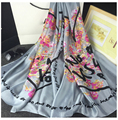 Bufanda de Seda Bufanda de Marca de lujo de Verano para Las Mujeres 100% de Seda mujeres Bufandas y Chales Corazón Sarga Impreso Mantón de Las Bufandas de Las Señoras Hijab