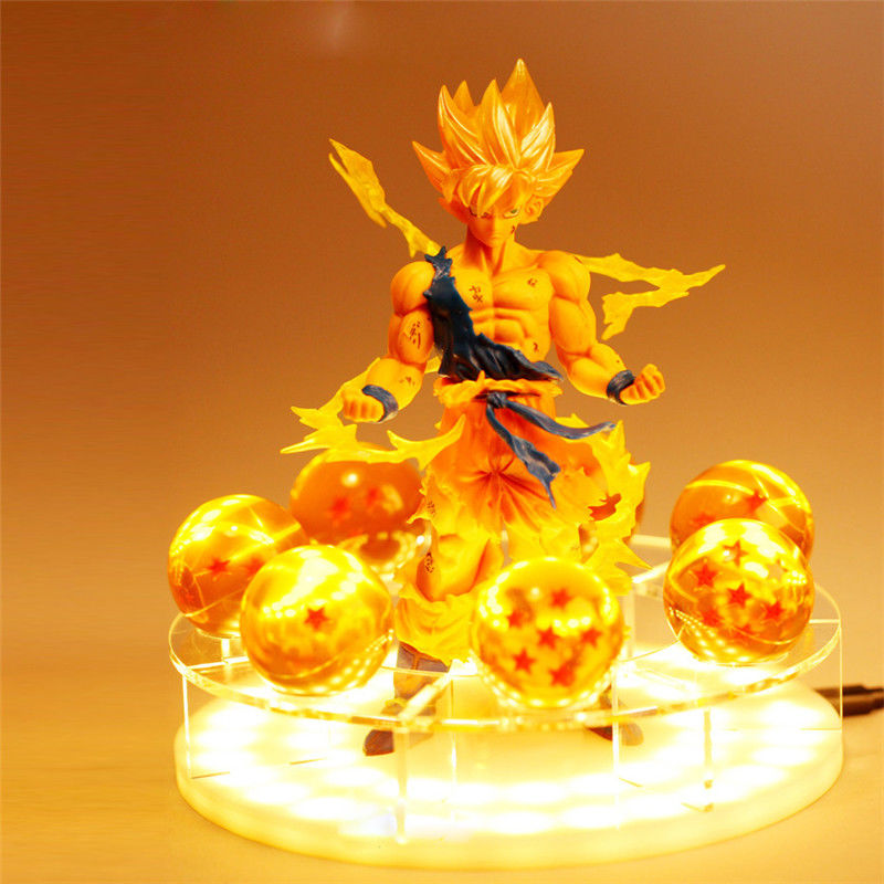 Figurine d'anime boule de Dragon RARE Z Super Saiya Goku boules de cristal Power Up lumière LED figurine en PVC modèle jouet cadeau Collection