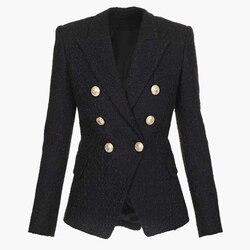 Высокое качество, новейшая мода 2020, дизайнерский Блейзер, женский двубортный твидовый пиджак на кнопках со львом