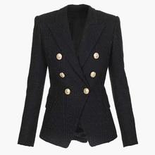 Blazer Tweed pour femmes, vêtement de haute qualité, croisé, boutons lions, blouson de styliste 2020