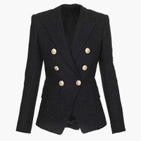 HIGH QUALITY Newest Fashion 2019 Designer Blazer Women's Double Breasted Lion Buttons Tweed Blazer Jacket