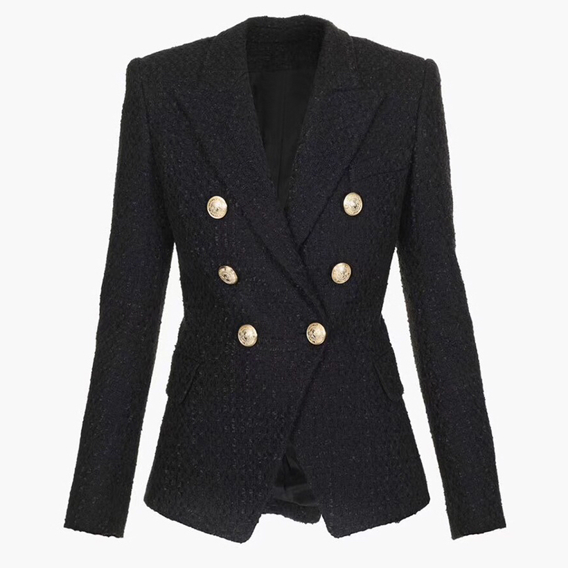 HIGH QUALITY Newest Fashion 2020 Designer Blazer Women's Double Breasted Lion Buttons Tweed Blazer Jacket