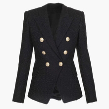 HIGH QUALITY Newest Fashion 2020 Designer Blazer Womens Double Breasted Lion Buttons Tweed Blazer Jacket