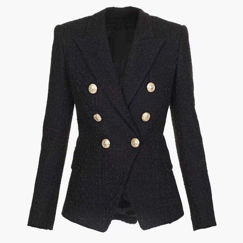 Kadın Giyim'ten Blazerler'de YÜKSEK KALITE Yeni Moda 2019 Tasarımcı Blazer kadın Kruvaze Aslan Düğme Tweed Blazer Ceket'da  Grup 1