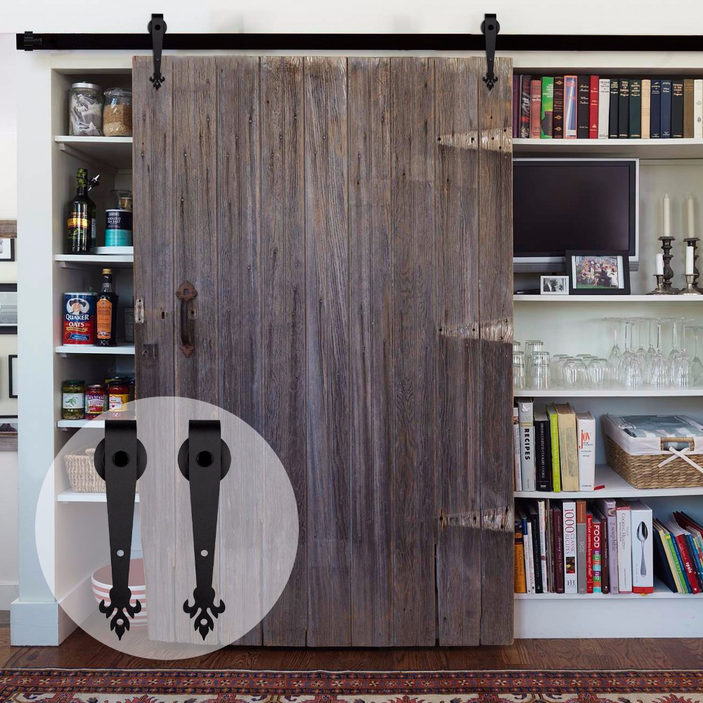 LWZH 3000mm-4200mm Wood Sliding Barn Door Hardware Kit Black Steel Track Three Leaves Shaped Barn Door Roller For Single Door
