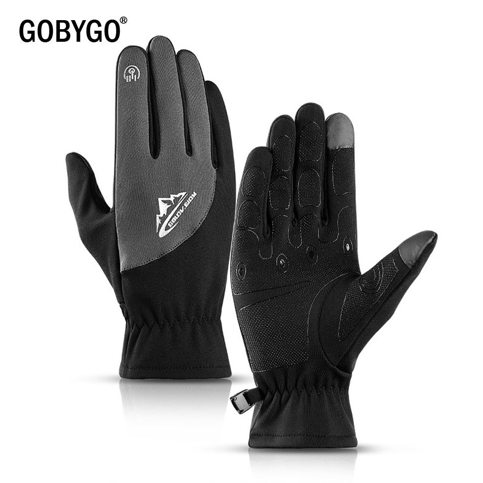 GOBYGO 2019 New Outdoor Sports Fleece Gloves Cold Warm Wear Touch Screen Running Cycling Gloves Male Female Winter Gloves